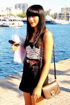 black Zara shorts - Zara top - brown vintage belt - Zara bag