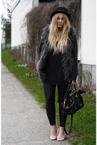dark gray furry H&M vest - black Monki hat - gray carlings sweater