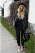 dark gray furry H&M vest - black Monki hat - gray carlings sweater