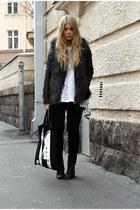 black Dr Denim jeans - black leather Topshop jacket - gray furry H&M vest