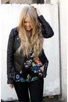 black leather Topshop jacket - black Dr Denim jeans - black printed H&M blouse