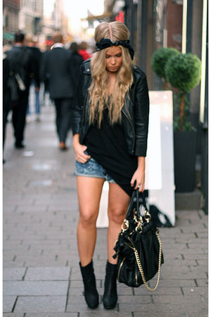 black asoscom jacket - black Zara boots - black Zara bag - blue acne shorts
