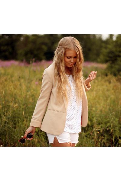 beige H&M blazer - white DIY shorts - orange rayban sunglasses