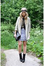 beige H&M blazer - black Zara boots - black Monki shirt - silver Monki skirt