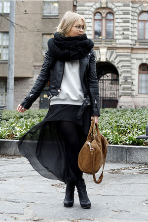 brown Alexander Wang bag - black Bianco boots - black leather Topshop jacket