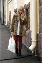leopard Spirit coat - ruby red asoscom jeans - white H&M jumper