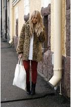 leopard Spirit coat - ruby red asoscom jeans - white H&M jumper