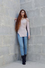 Black-globo-boots-sky-blue-h-m-jeans-light-pink-tally-weijl-sweater