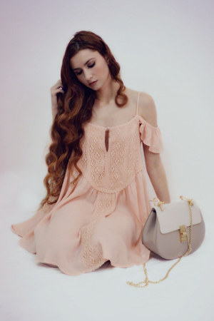light pink shein dress - beige shein bag