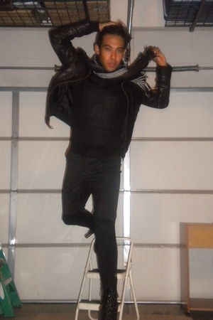 black H&M sweater - black Toxic Hazard jacket - black Forever 21 shorts - black