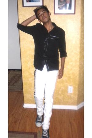 black tripp shirt - white Carbon by Rue 21 jeans - silver Converse shoes - black