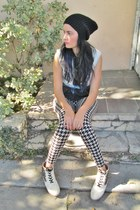 H&M leggings - sam edelman shoes - ombre denim DIY vest - beanie H&M accessories