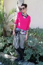 neon H&M sweater - Franco di Sarto boots - Aldo bag