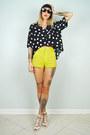 Chartreuse-noirohio-vintage-shorts-black-noirohio-vintage-blouse