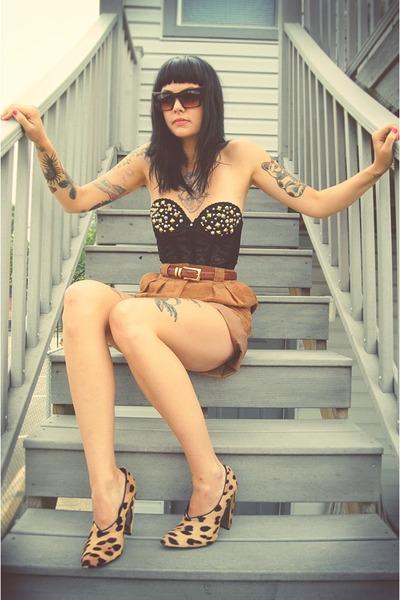 black hand studded vintage bra - beige leopard Alexander Wang shoes