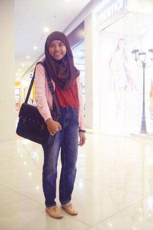 carvil jeans - fluerette shoes - chiffon scarf - meredekelhe bag