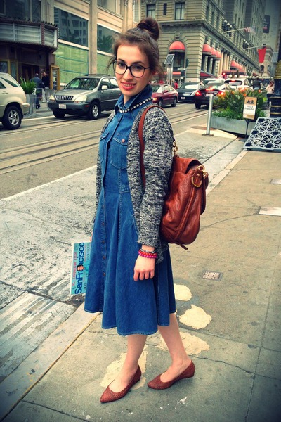 silver J Crew cardigan - sky blue Levis dress - tawny Juicy Couture bag