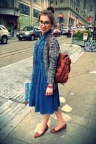 silver J Crew cardigan - sky blue Levis dress - tawny Juicy Couture bag