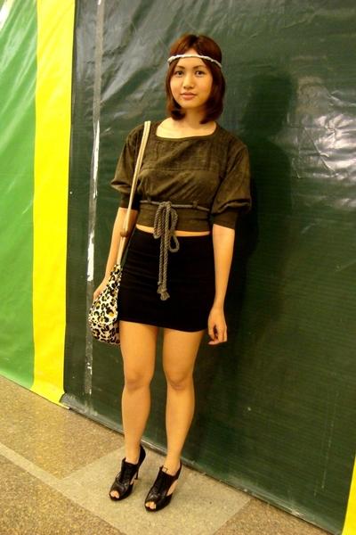 Eairth by Melissa Dizon blouse - Topshop skirt - Nine West shoes - APC purse