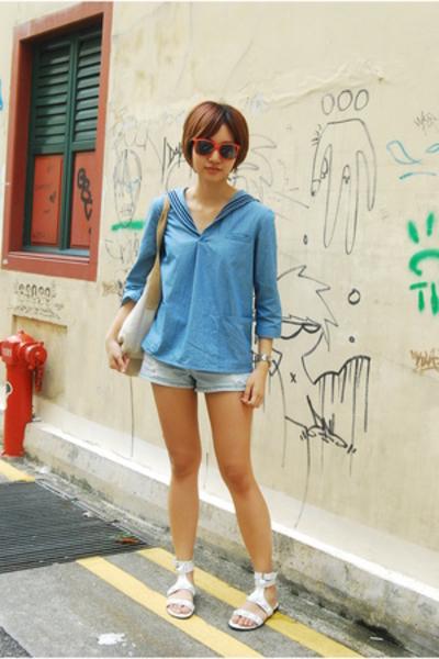 APC blouse - forever 21 shorts - Collage shoes - H&M sunglasses