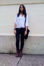 White-h-m-blouse-black-vintage-bag-black-jeans-brown-target-boots-brown