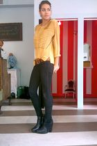 gold vintage blouse - brown vintage belt - black Tulle jeans - black sam edelman