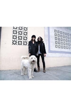 black scarf - white sweater - pink blazer - black jacket - black pants - brown b