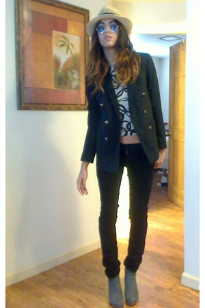 black Gap blazer - blue baby blue suede rugged warehouse boots - black dvb jeans