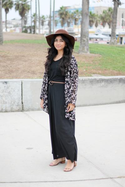 dark brown floppy hat Kaitlyn hat - black maxi Noornoir dress df2bfdb0461