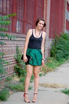 dark green asos skirt - gray American Apparel top