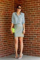 periwinkle silk two-pocket Forever 21 blouse - yellow neon box clutch Zara bag