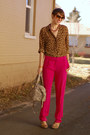 Cole-haan-bag-leopard-print-liz-claiborne-blouse-hot-pink-silk-dvf-pants