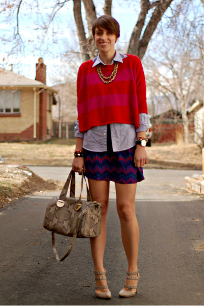 f2becca3d4cb striped Forever 21 sweater - printed Parker dress - python leather Cole Haan  bag