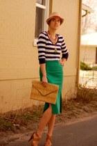 dark green asos skirt - camel fedora Forever 21 hat - navy striped Gap shirt