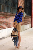 diy mini vintage skirt - felt fedora Forever 21 hat - denim H&M jacket
