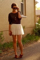 white H&M skirt - brown Via Spiga vintage boots - dark gray Forever 21 shirt