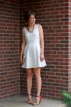 cream Isabel Lu dress - ruby red painted red Zara heels