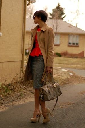 carrot orange Forever 21 shirt - camel DKNY coat - heather gray Cole Haan bag