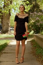 black silk cutout Urban Outfitters dress - hot pink DIY bag