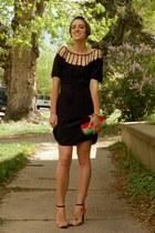 black silk cutout Urban Outfitters dress - hot pink DIY bag