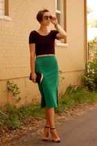 green asos skirt - black crop top Forever 21 shirt