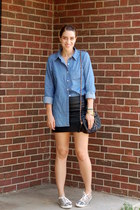 sky blue chambray Forever 21 blouse - black faux leather H&M skirt