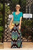camel knit fedora Forever 21 hat - green mara hoffman dress