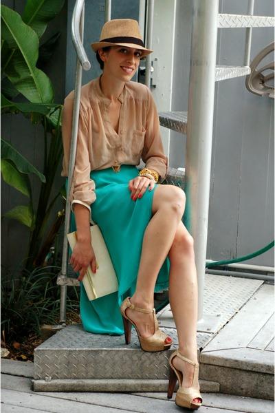 aquamarine high-low hem Forever 21 skirt - camel fedora Forever 21 hat