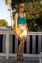 ivory Topshop skirt - camel fedora Forever 21 hat