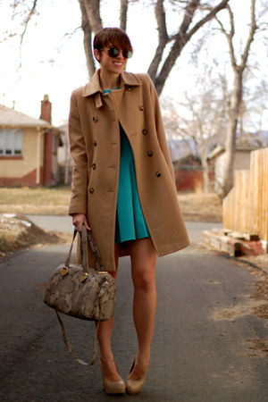 camel DKNY coat - aquamarine Tibi dress - gray Cole Haan bag