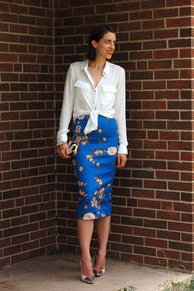 blue floral Zara skirt - ivory semi-sheer Forever 21 blouse