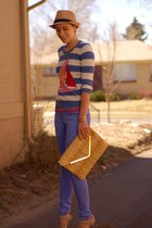 violet pastel Forever 21 jeans - camel straw fedora Forever 21 hat