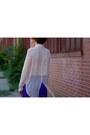 Cream-sheer-akira-blouse-deep-purple-silk-mini-diane-von-furstenberg-skirt