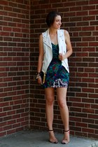 ivory linen Zara vest - dark green tropical print vintage dress